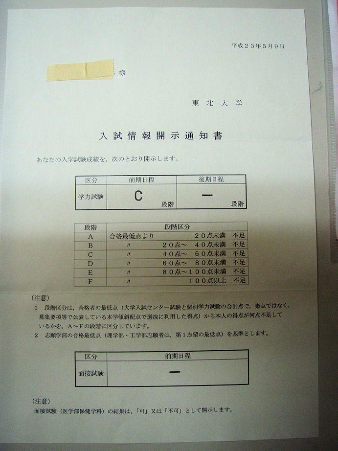 大学 二 試験 東北 日程 次